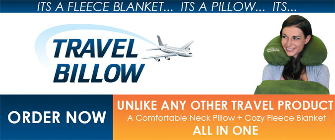 The revolutionary new Travel Billow is a travel pillow and fleeece blanket all-in-one.
